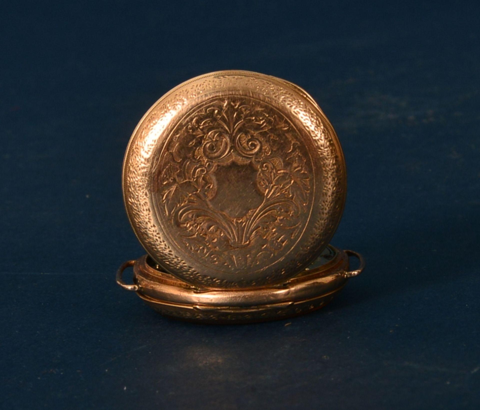 Frühe Damenarmbanduhr, um 1900. Aufwändig gestaltetes 585er Gelbgoldgehäuse, Durchmesser ca. 30 - Bild 4 aus 7