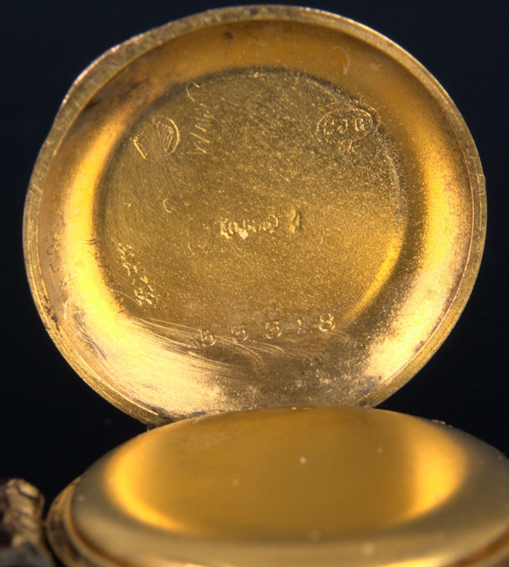 Elegante, frühe Damenarmbanduhr, um 1900, rundes, an der Oberseite gewölbtes, massives 585er - Bild 8 aus 9
