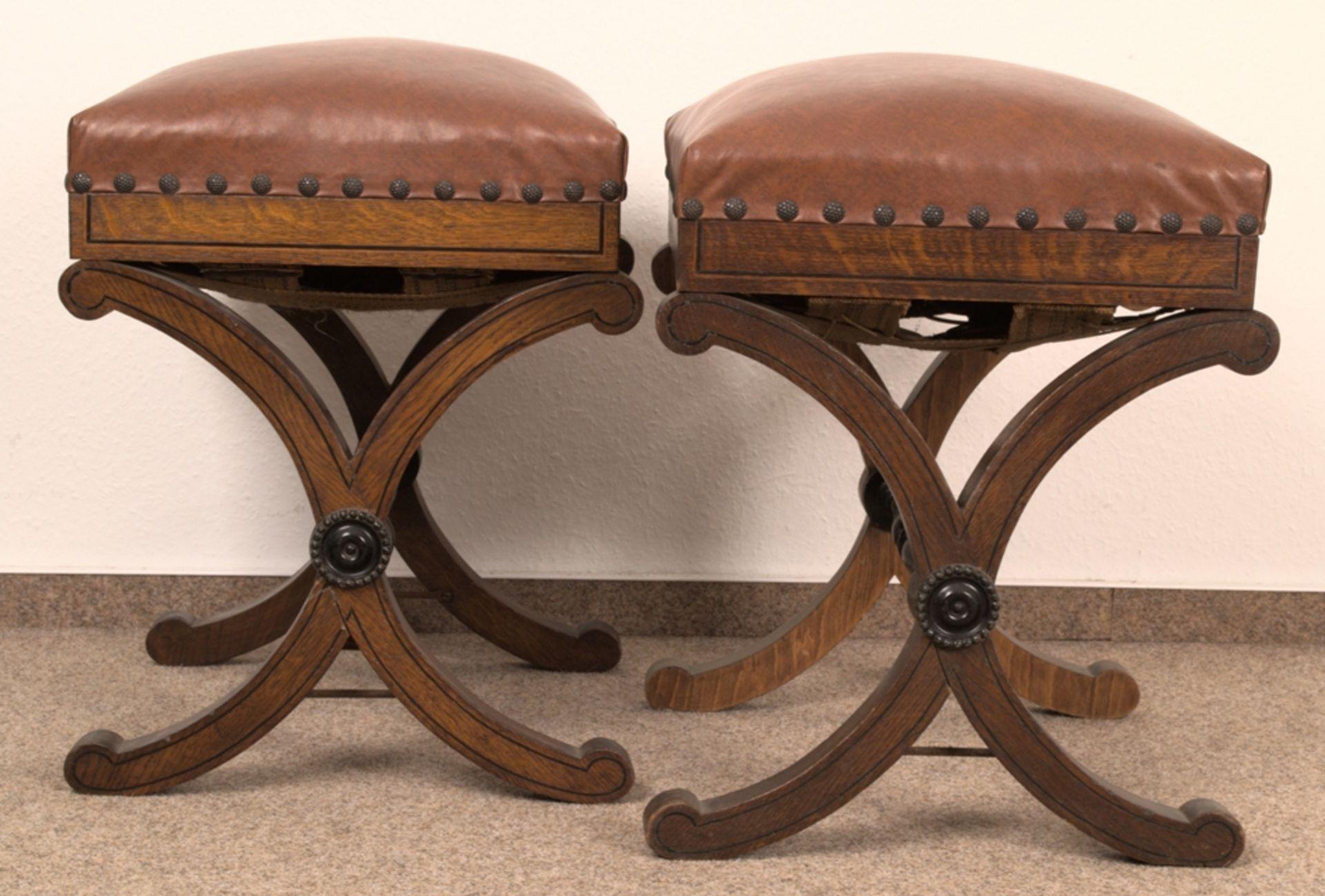 Paar Polsterhocker im Empirestil/Biedermeier-Stil um 1900/20. Eiche massiv & furniert, teilweise mit - Bild 3 aus 9