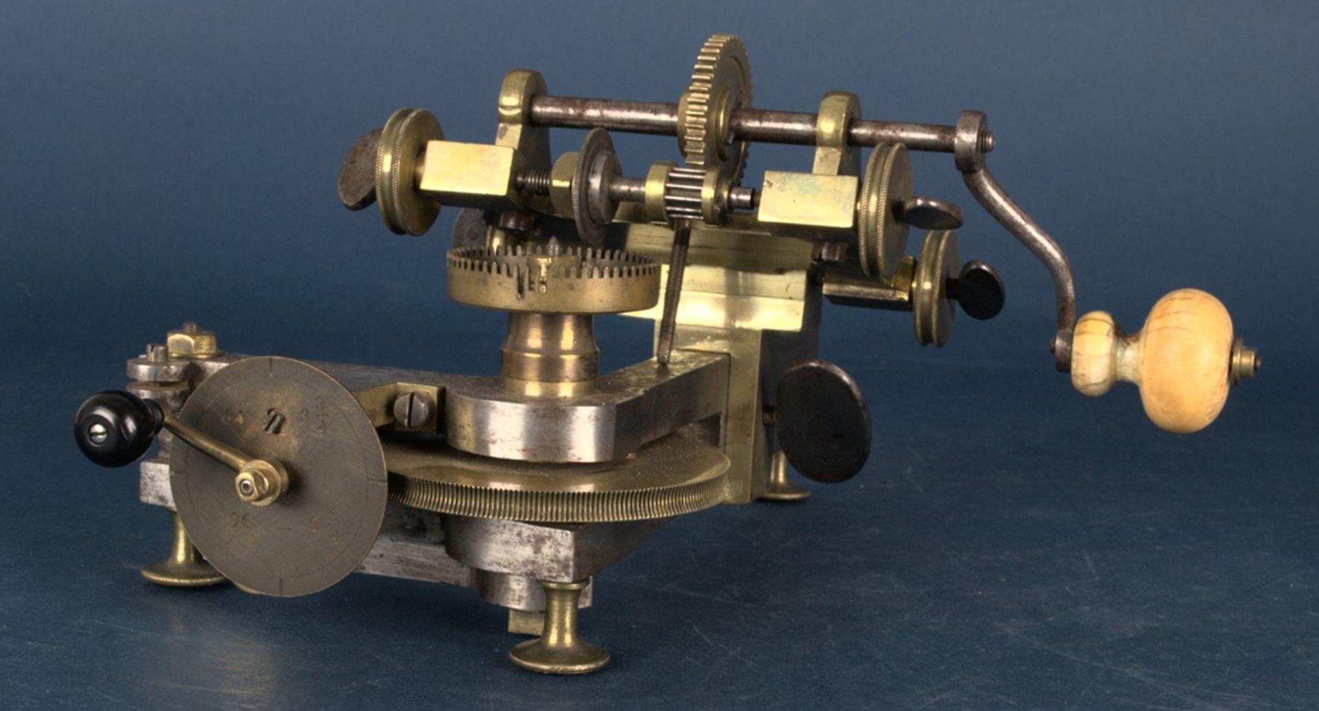 Zahnradfräsmaschine/Zahnräderschneidemaschine, frühes Uhrmacherwerkzeug, deutsch Mitte 18. Jhd., - Bild 14 aus 29