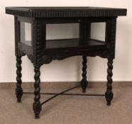 Antike Tischvitrine, deutsch um 1900/20, Eiche massiv, verstrebter, gedrechselter Tischunterbau,