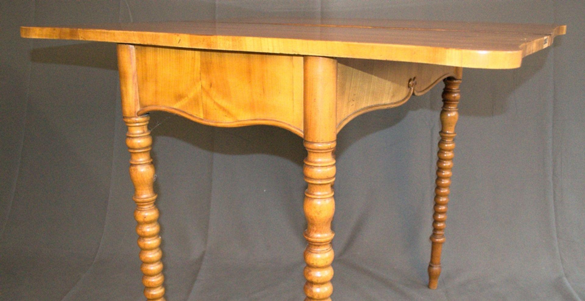Konsoltisch/Spieltisch. Spätes Biedermeier um 1840/50. Kirschbaum massiv & furniert. Gepflegter - Bild 11 aus 24