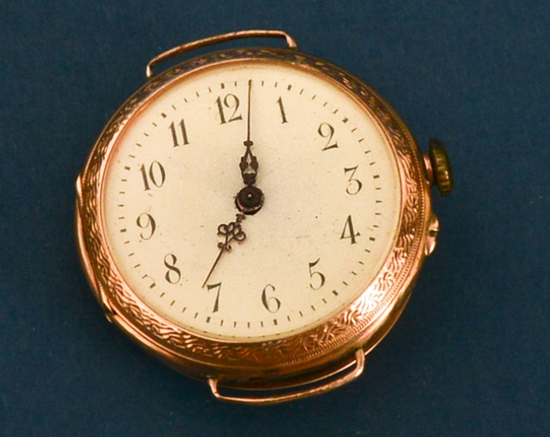 Frühe Damenarmbanduhr, um 1900. Aufwändig gestaltetes 585er Gelbgoldgehäuse, Durchmesser ca. 30