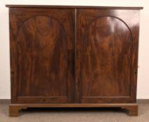 Antiker Bücherschrank, England um 1800/20, Mahagoni massiv & furniert, zweitüriges Regalmöbel,