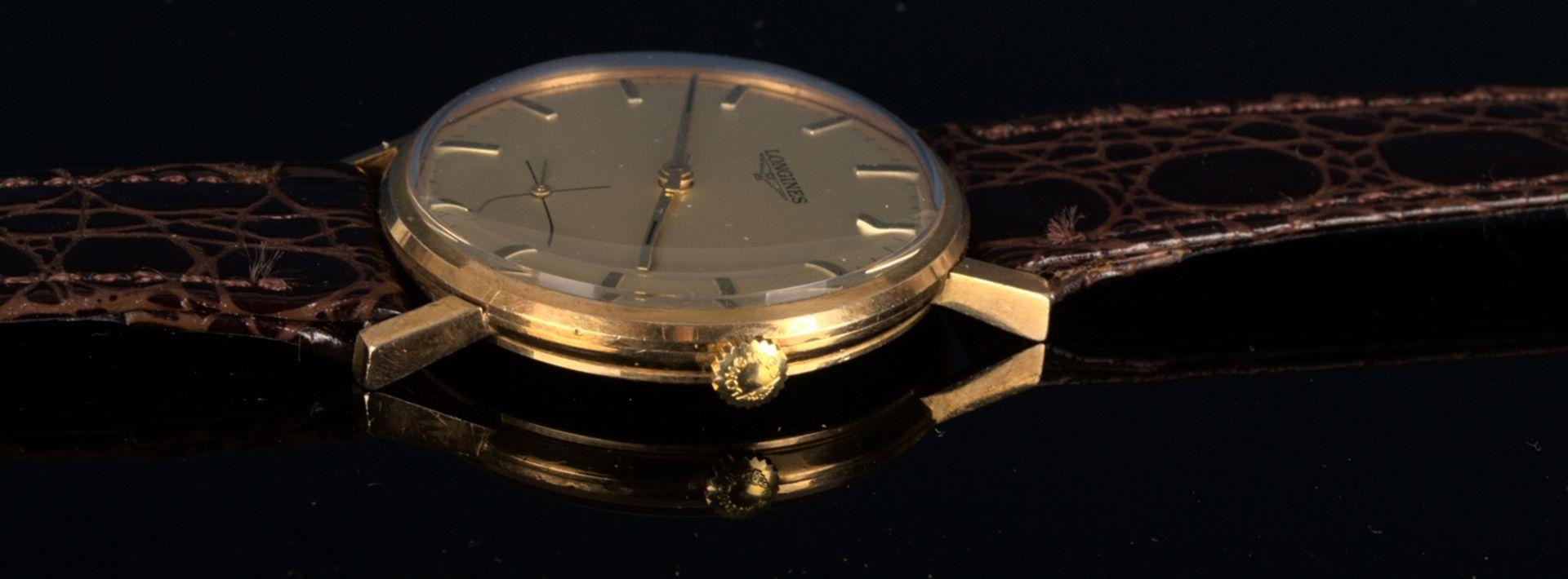 """""""LONGINES"""" - Elegante, goldene Herrenarmbanduhr der Marke Longines. Gehäuse in 18 K Gelbgold, - Bild 5 aus 12"""