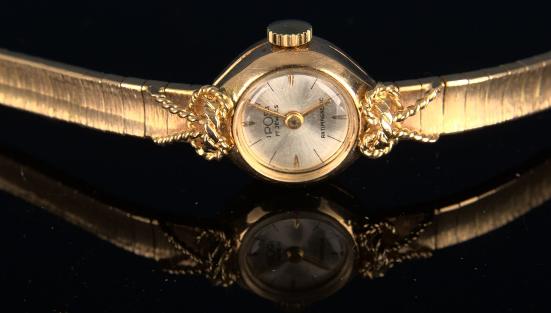 """Schmuckvolle, filigrane """"IPOSA"""" - Damenarmbanduhr, ungeprüftes mechanisches Uhrwerk mit 17 - Bild 4 aus 6"""
