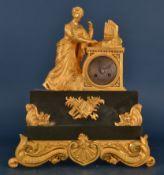 Antike französische Pendule/Kaminuhr um 1880/1900. Matt & glanzvergoldetes Gehäuse von