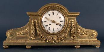 Dekorative, antike Kaminuhr, vergoldetes Holzgehäuse in Louis XVI-Stil, um 1920/30. Ungeprüftes