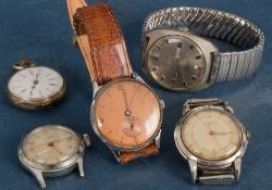 5teiliges Konvolut alter/ antiker Armbanduhren (4) und 1x Damentaschenuhr, 800er Silber. Versch.