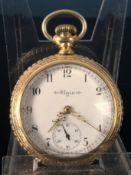"""Große offene """"Elgin"""" - Herrentaschenuhr, vergoldetes aufwändig verziertes Gehäuse, weißes"""