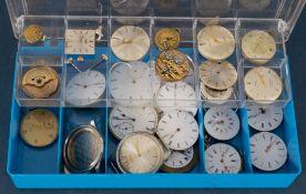 Kleine Sammlung versch. Armband- & Taschenuhren-Werke, Uhrengehäuse, Ziffernblätter und weiterer