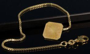 585er Gelbgold - Taschenuhrenkette, spätes 20. Jhdt.; Länge inkl. Karabinerverschluss ca. 23 cm, ca.