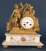 Antike Kaminuhr, Historismus um 1900, figürliche Bekrönung aus vergoldetem Zinkspritzguss.