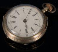 Antike silberne Damentaschenuhr, um 1900, Funktion ungeprüft. Durchmesser ca. 35 mm.
