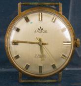 """""""ARCTOS"""" - Herrenarmbanduhr der 1970er Jahre, 585 Gelbgoldgehäuse, Rückdeckel bez.: """"Fernseh -"""