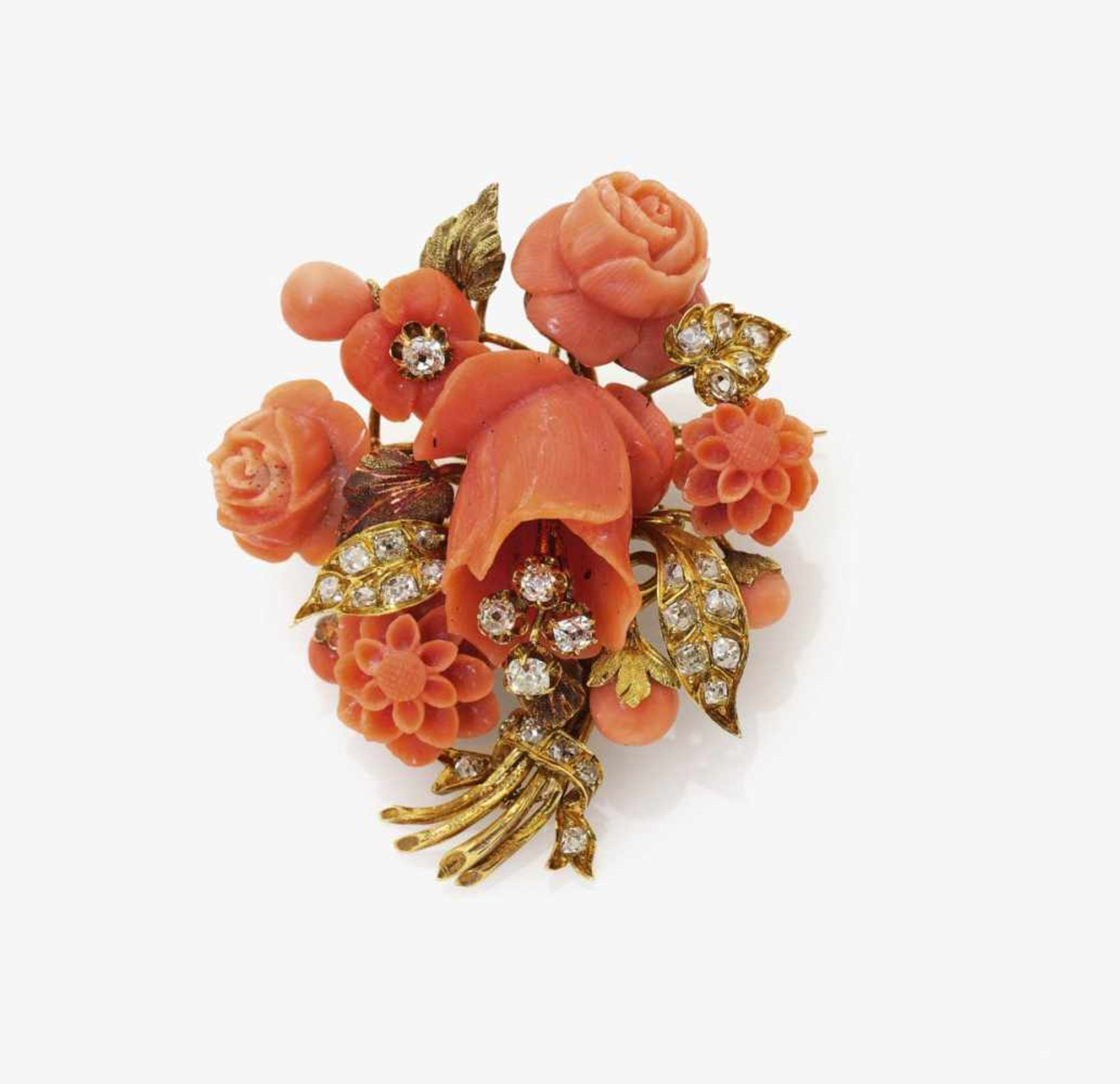 Los 1003 - A Coral and Diamond Floral Bouquet Brooch