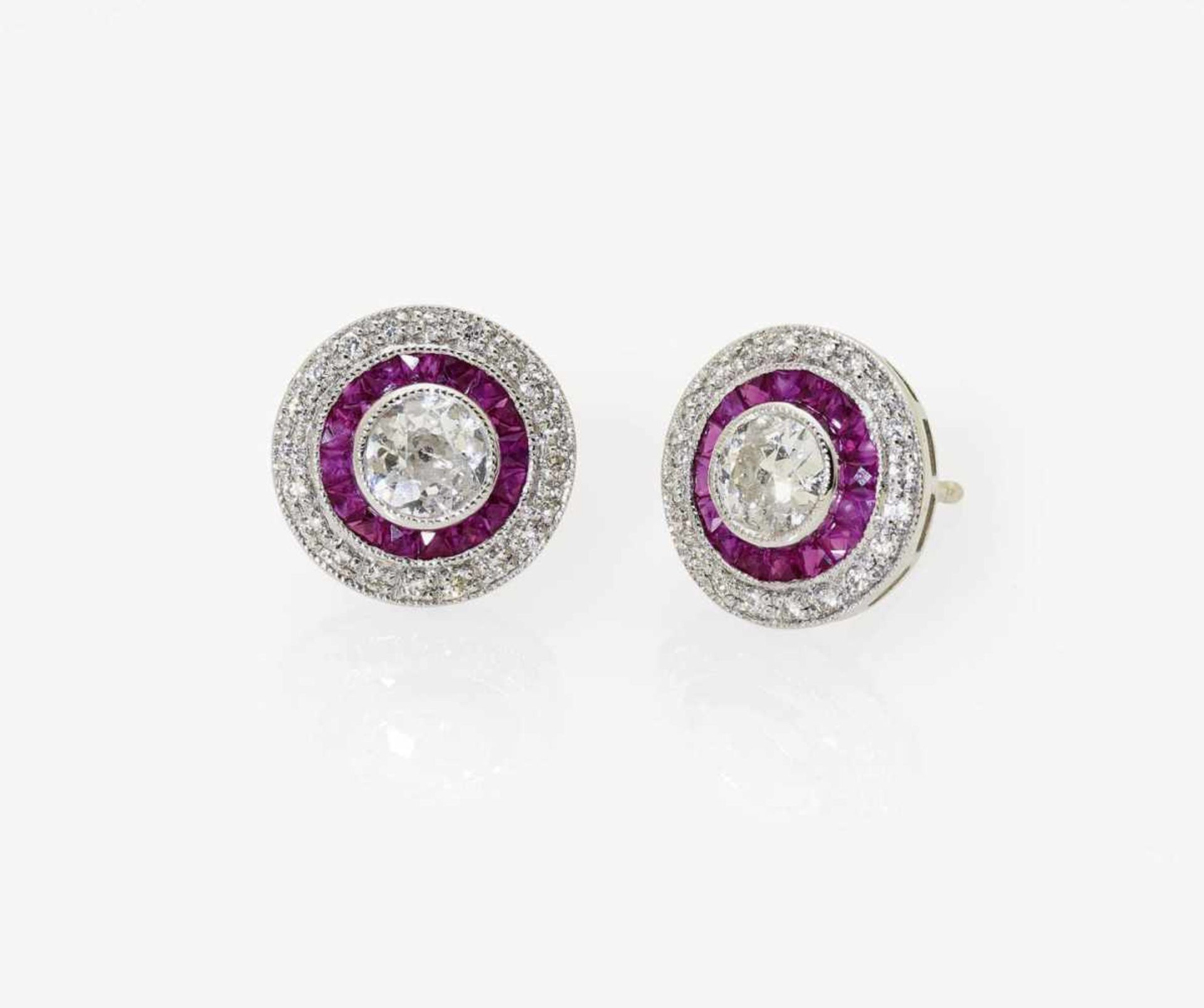 Los 1044 - A Pair of Ruby and Diamond Earrings