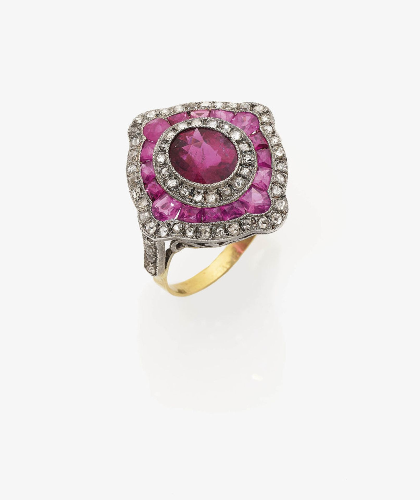 Los 1041 - A Rubellite, Ruby and Diamond Cocktail Ring