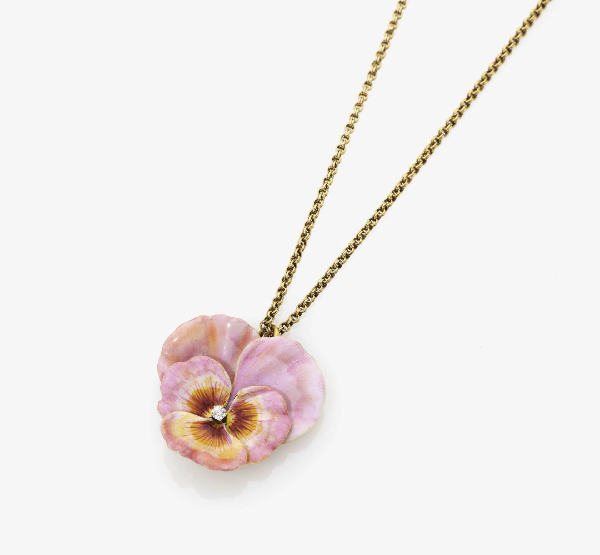 Los 1004 - An Enamel and Diamond 'Shorty' Pansy Necklace