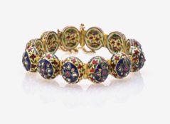 Gliederarmband mit Rubinen, Diamantrosen und EmailIndien, Rajasthan, um 1850 Gelbgold 22 ct.,