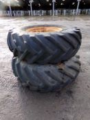 2 X 18.4/15X26 GOODYEAR TYRES ON RIMS (+