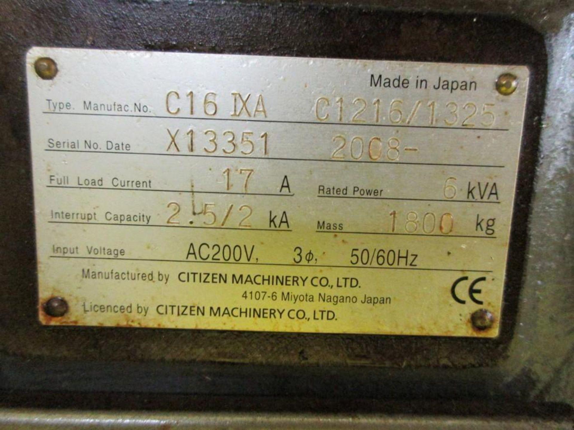 Lot 3 - CITIZEN MDL. C16-IX-1 SWISS-TYPE CNC LATHE