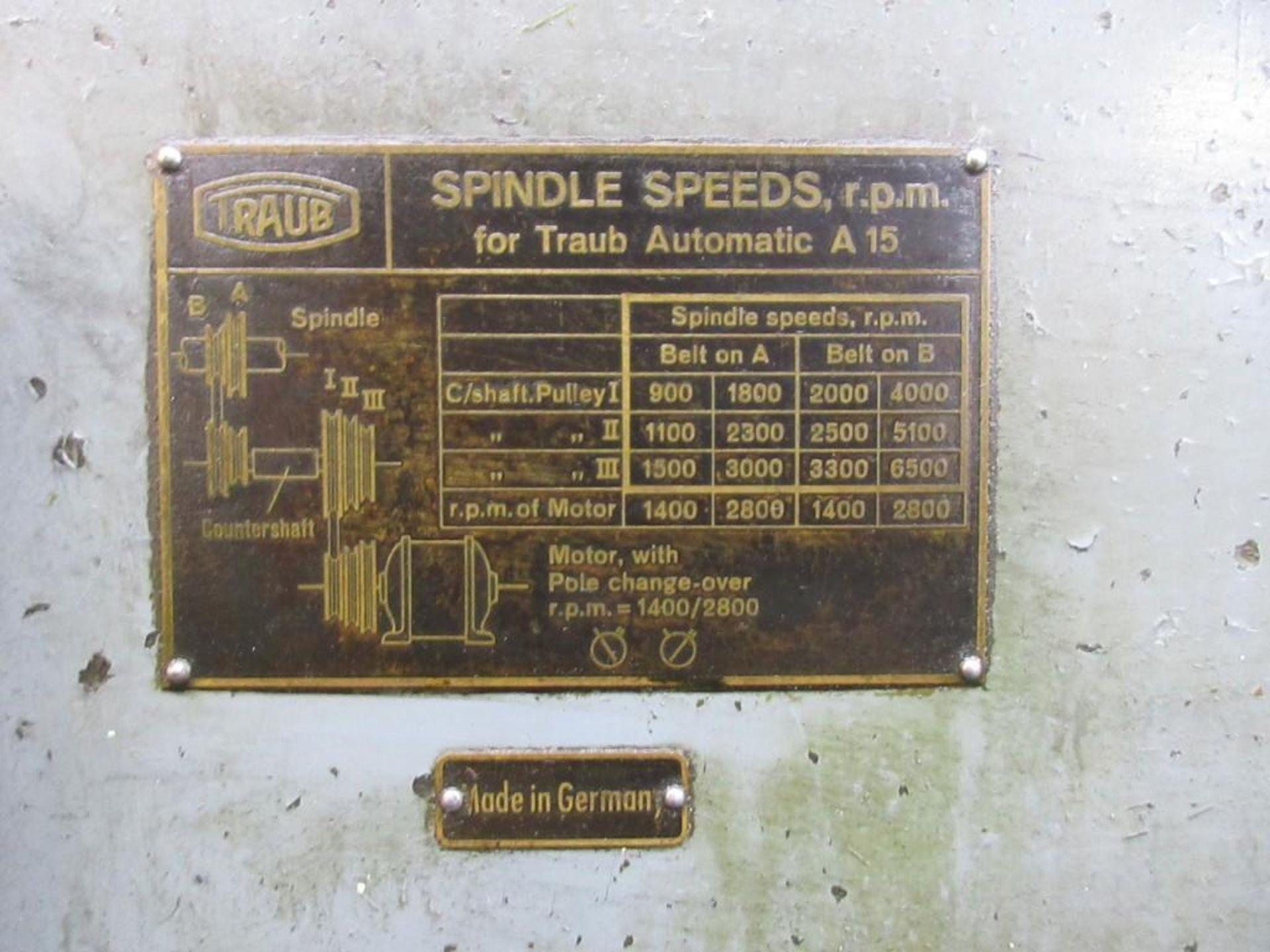 Lot 62 - TRAUB AUTOMATIC SCREW MACHINE; MODEL A15
