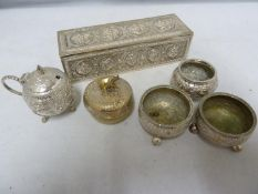 Daday Khan Madras - an Indian white metal rectangular box, marked to base; a mustard pot and