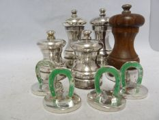 Five silver pepper grinders, various dates and makers - modern; and four green enamelled silver menu