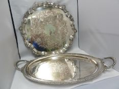 A large silver plated two handled tray, of oval shape, 58cm max diam approx; and one large