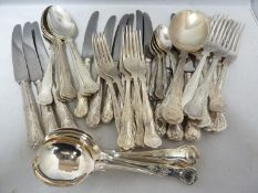 A canteen of silver plated cutlery, Kings Pattern, comprises: 6 dinner knives, 6 dinner forks; 6