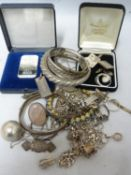 A quantity of silver jewellery, including 2 ingots, one 50g from the Union Bank of Switzerland; a '