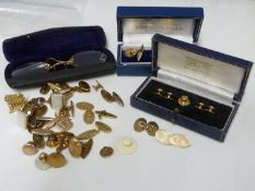 A pair of 9ct yellow gold Gentlemans cufflinks, in Mappin and Webb box, 11 grms approx; one other