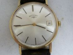 A Rotary Gentleman's 9ct gold wrist watch, the case marked 0.375 with hallmarks internally, manual