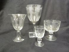 Keith Murray for Royal Brierley - Four drinking glasses, one decorated with engraved vine on a