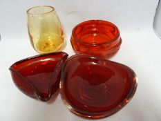 Whitefriars - Four items of glass, comprising: a ruby knobbly 9613 bowl, 13.5 max diam; a Geoffrey