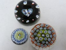 Caithness - a glass paperweight heart, Limited Edition 345/1000; and two other paperweights (3)