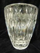 William Wilson for Whitefriars - colourless cut glass vase, 17cm high