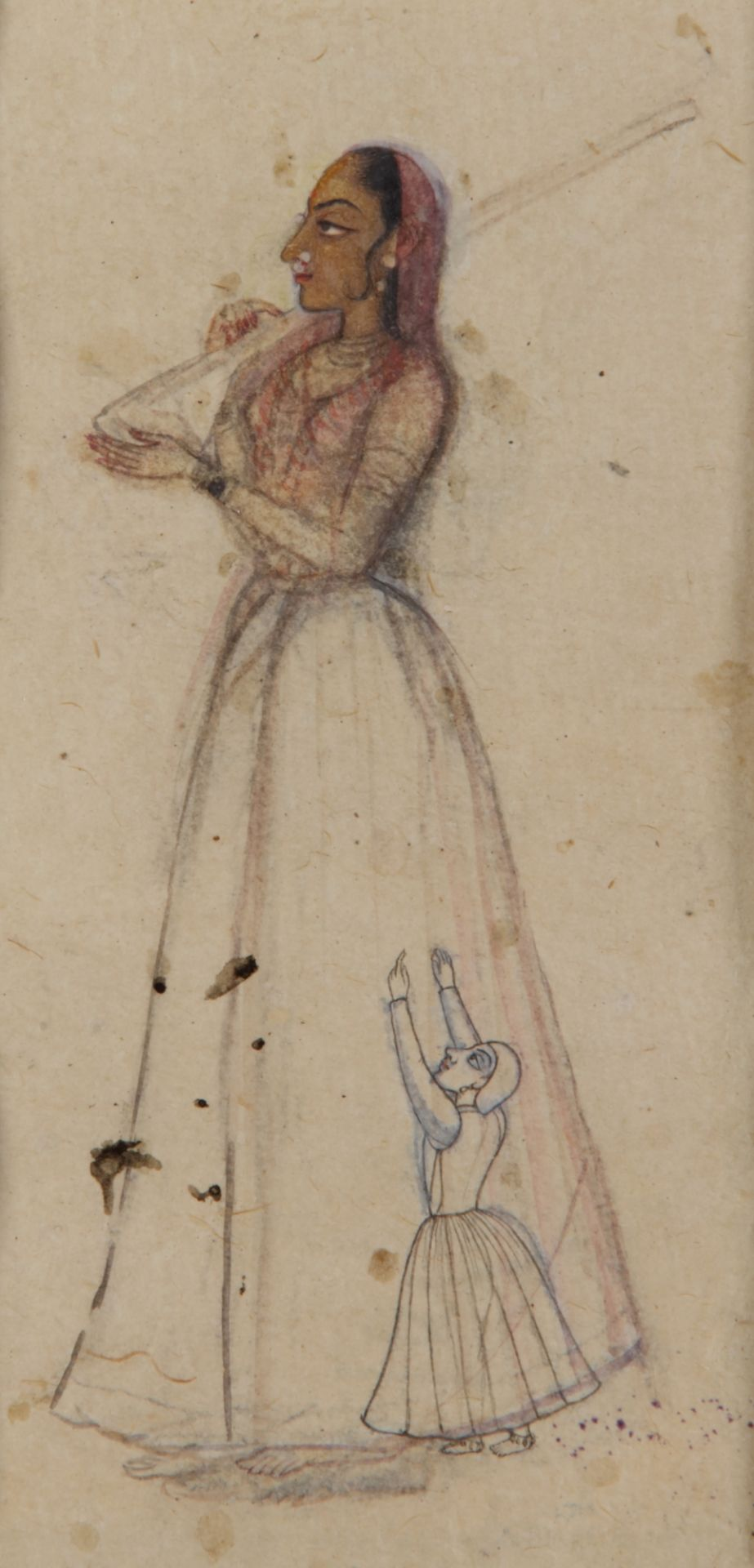 AN INDIAN MINIATURE DEPICTING A LADY