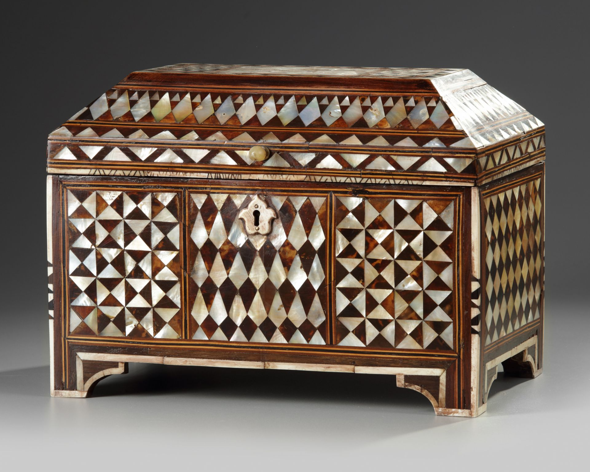 AN OTTOMAN MOTHER-OF-PEARL AND TORTOISESHELL INLAID CHEST