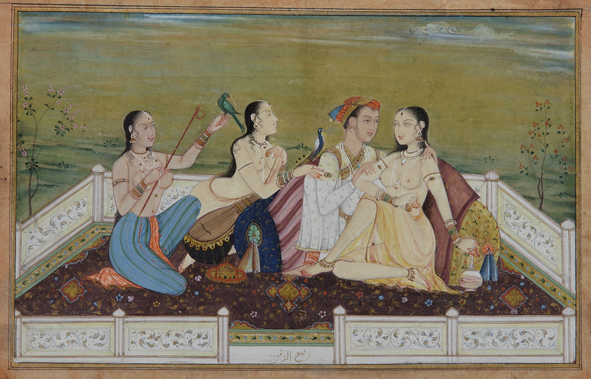 AN INDIAN MINIATURE DEPICTING A LOVING COUPLE