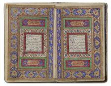A QURAN, QAJAR, COPIED BY AHAMD BIN MUHAMMAD TABRIZI, DATED 1266 AH/1850 AD