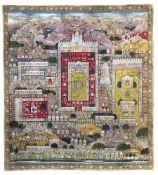 A JAIN PILGRIMAGE PAINTING (TIRTHA PATA) MAP OF THE SACRED SITE SHATRUNJAYA GUJARAT, LATE 19TH CENT