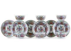 A SET OF SIX CHINESE FAMILLE ROSE CUPS AND SAUCERS, 18TH CENTURY