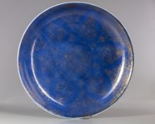 A LARGE CHINESE POWDER-BLUE GROUND GILT-DECORATED CHARGER KANGXI PERIOD (1662-1722)