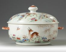 A CHINESE FAMILLE ROSE 'DEER' TUREEN AND COVER, 18TH CENTURY