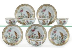 A SET OF FIVE CHINESE FAMILLE ROSE CUPS AND SAUCERS, YONGZHENG PERIOD (1723-1735)