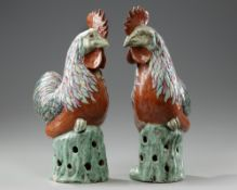 A PAIR OF CHINESE FAMILLE ROSE COCKERELS, 19TH CENTURY