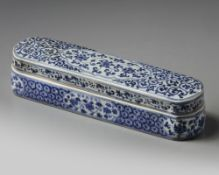 A CHINESE BLUE AND WHITE PEN BOX AND COVER FOR THE ISLAMIC MARKET, XUANDE MARK
