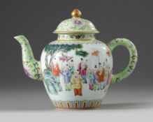 A CHINESE FAMILLE ROSE 'BOYS' TEAPOT AND COVER, 19TH-20TH CENTURY